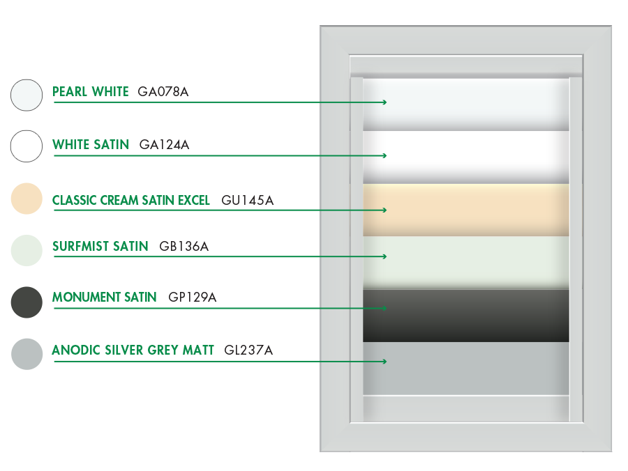 Colour chart of available colours for elipso louvres outdoor shutters