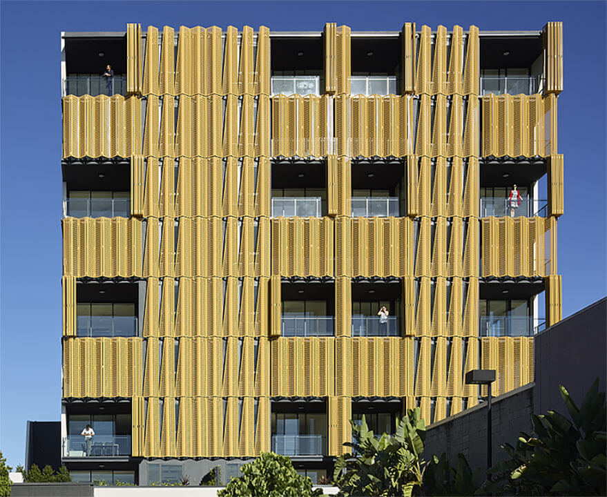 Cyclone shutters installed on an apartment building in Sydney